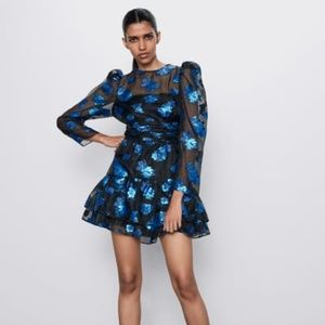 [ZARA] RARE TO FIND !! ORGANZA FLORAL MINI DRESS
